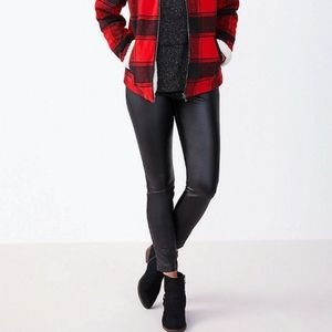 faux leather pull on bengaline skinny ankle pant